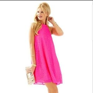 NWOT Lilly Pulitzer Quinn hot pink halter dress